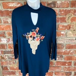 Altair's State dark teal long sleeve top size M